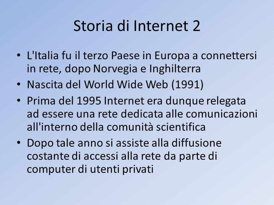Storia di Internet 2 L'Italia fu il terzo Paese in Europa a connettersi in rete, dopo Norvegia e Inghilterra Nascita del World Wide Web (1991) Prima d