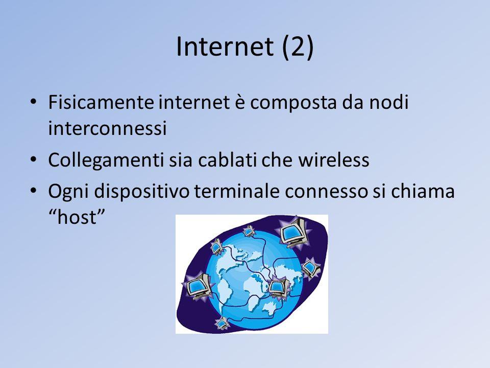 Internet (2) Fisicamente internet è composta da nodi interconnessi Collegamenti sia cablati che wireless Ogni dispositivo terminale connesso si chiama