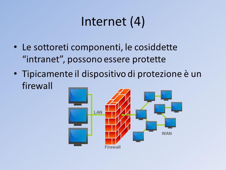 Internet (4) Le sottoreti componenti, le cosiddette intranet, possono essere protette Tipicamente il dispositivo di protezione è un firewall
