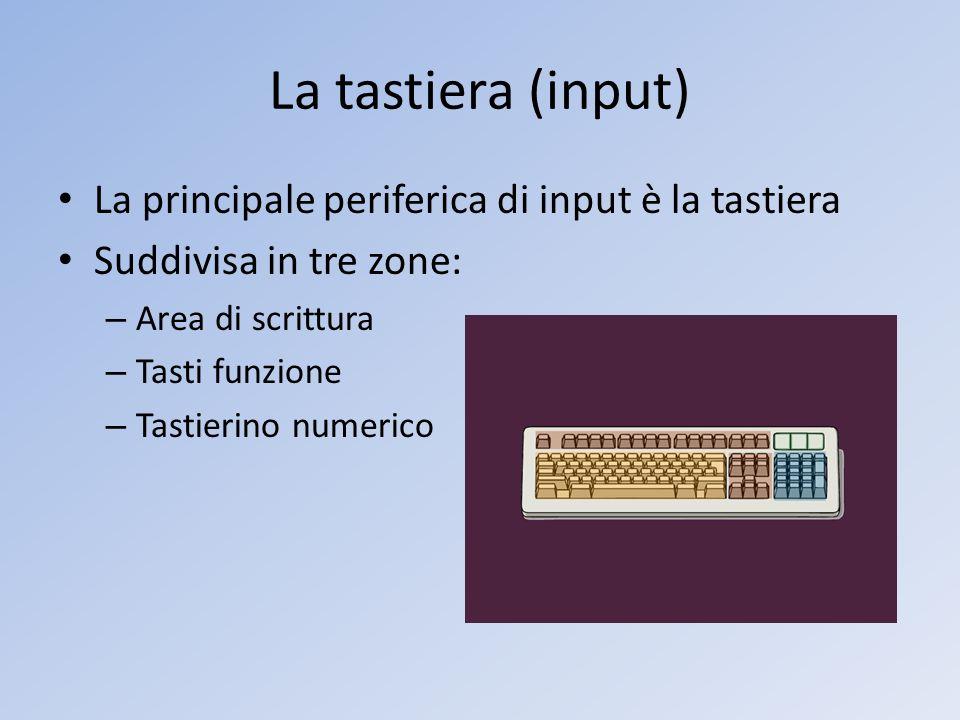 La tastiera (input) La principale periferica di input è la tastiera Suddivisa in tre zone: – Area di scrittura – Tasti funzione – Tastierino numerico