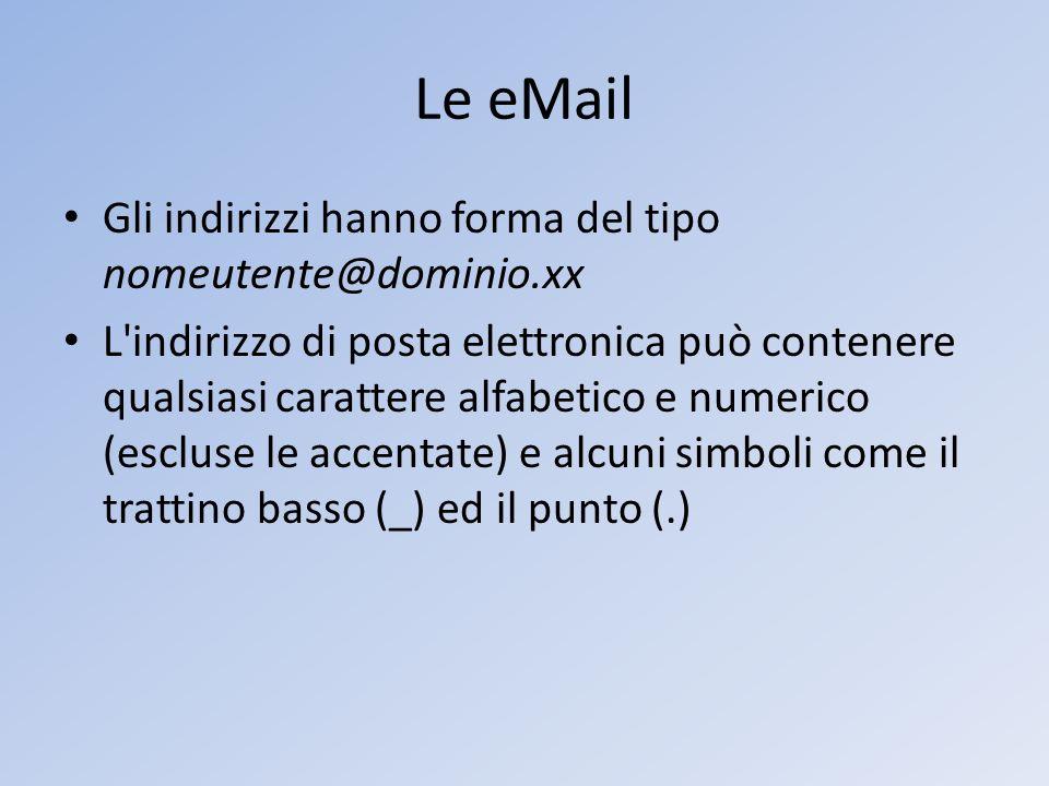 Le eMail Gli indirizzi hanno forma del tipo nomeutente@dominio.xx L'indirizzo di posta elettronica può contenere qualsiasi carattere alfabetico e nume