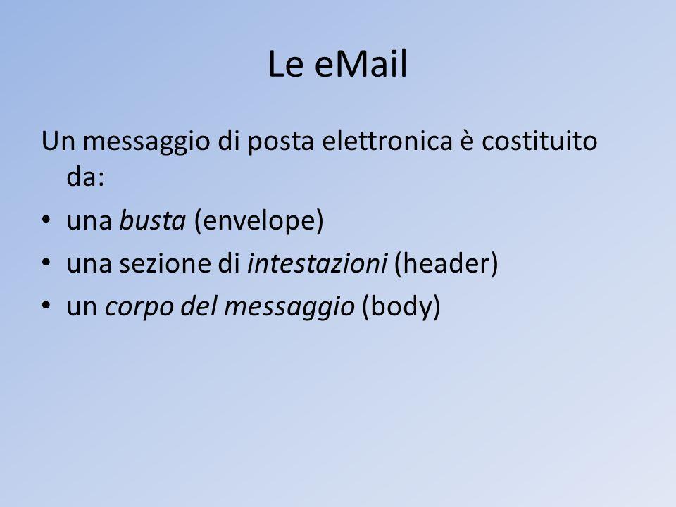 Le eMail Un messaggio di posta elettronica è costituito da: una busta (envelope) una sezione di intestazioni (header) un corpo del messaggio (body)