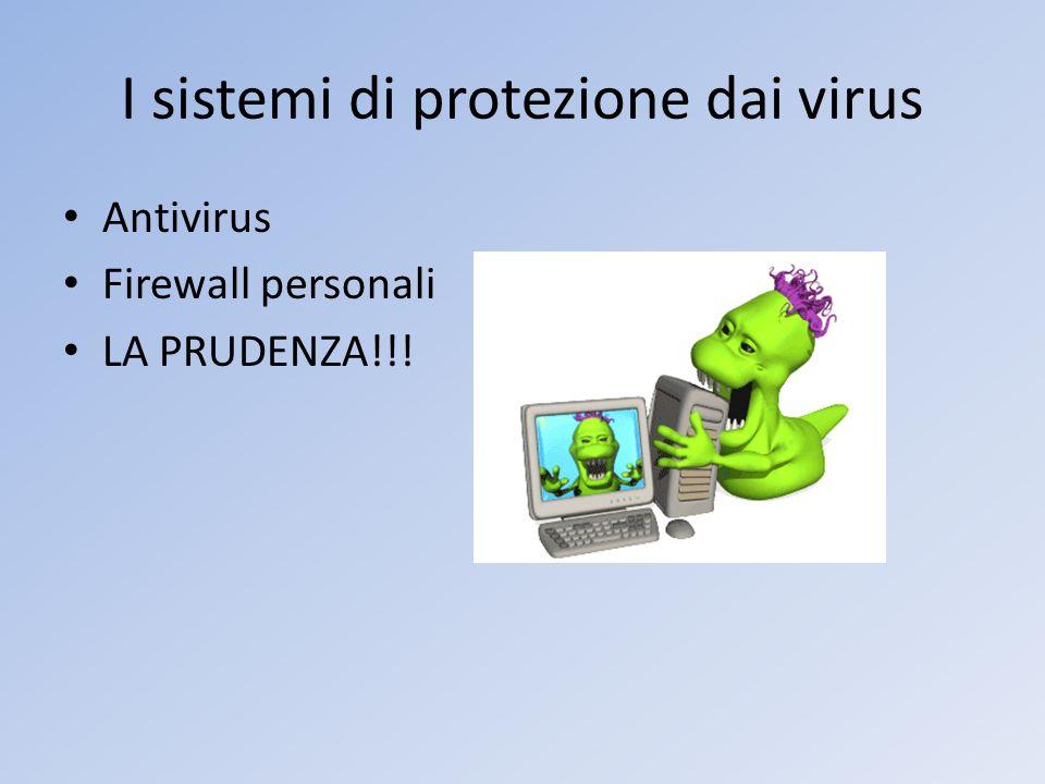 I sistemi di protezione dai virus Antivirus Firewall personali LA PRUDENZA!!!