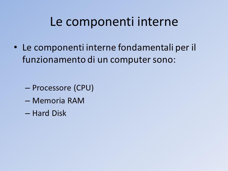 Le componenti interne Le componenti interne fondamentali per il funzionamento di un computer sono: – Processore (CPU) – Memoria RAM – Hard Disk