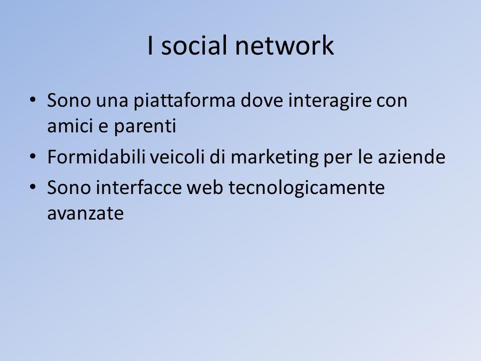 I social network Sono una piattaforma dove interagire con amici e parenti Formidabili veicoli di marketing per le aziende Sono interfacce web tecnolog