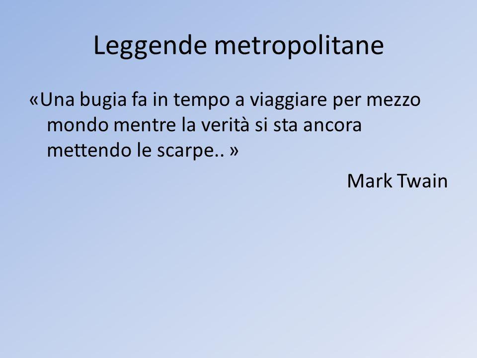 Leggende metropolitane «Una bugia fa in tempo a viaggiare per mezzo mondo mentre la verità si sta ancora mettendo le scarpe.. » Mark Twain