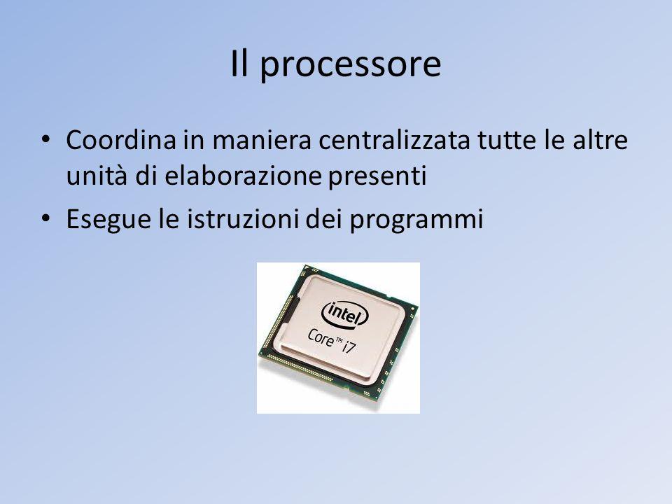 Il processore Coordina in maniera centralizzata tutte le altre unità di elaborazione presenti Esegue le istruzioni dei programmi