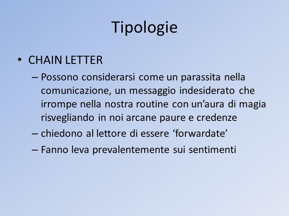 Tipologie CHAIN LETTER – Possono considerarsi come un parassita nella comunicazione, un messaggio indesiderato che irrompe nella nostra routine con un