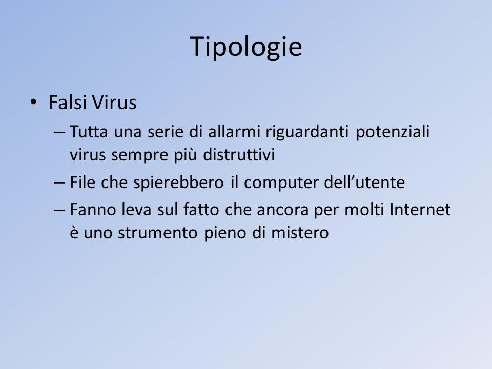 Tipologie Falsi Virus – Tutta una serie di allarmi riguardanti potenziali virus sempre più distruttivi – File che spierebbero il computer dellutente –