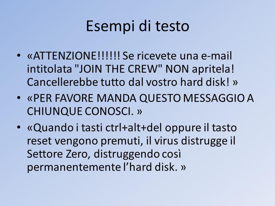 Esempi di testo «ATTENZIONE!!!!!! Se ricevete una e-mail intitolata