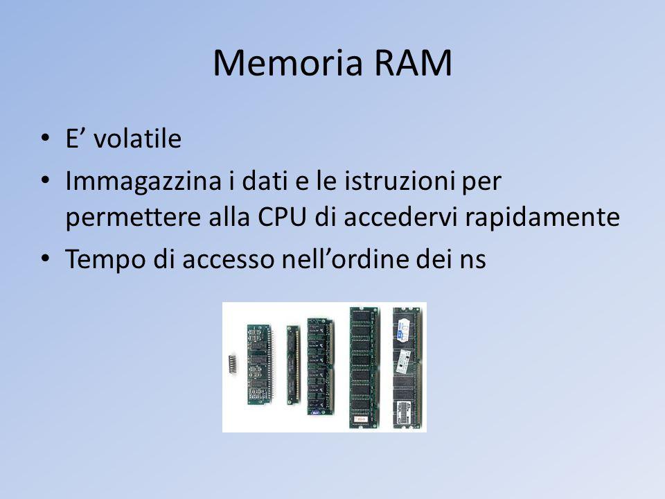 Memoria RAM E volatile Immagazzina i dati e le istruzioni per permettere alla CPU di accedervi rapidamente Tempo di accesso nellordine dei ns