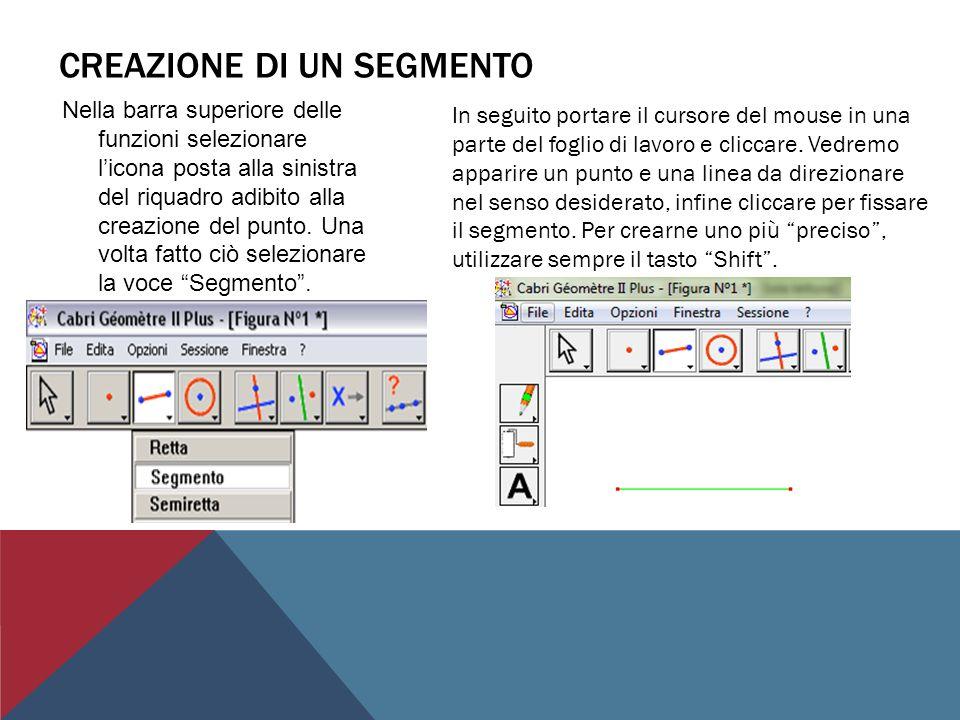 CREAZIONE DI UNA RETTA Sempre nella barra superiore delle funzioni, selezionare licona posta alla sinistra del riquadro adibito alla creazione del punto.
