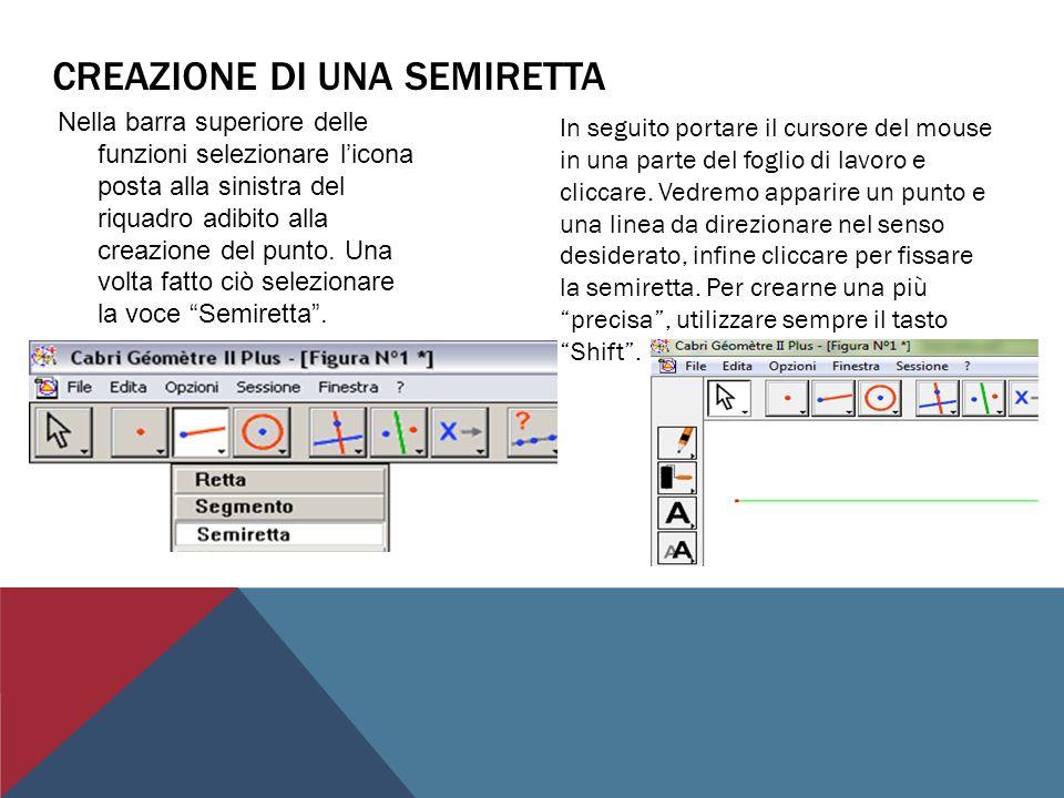 CREAZIONE DI UN SEGMENTO Nella barra superiore delle funzioni selezionare licona posta alla sinistra del riquadro adibito alla creazione del punto.