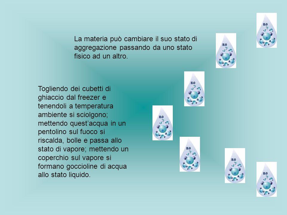 La materia può cambiare il suo stato di aggregazione passando da uno stato fisico ad un altro. Togliendo dei cubetti di ghiaccio dal freezer e tenendo