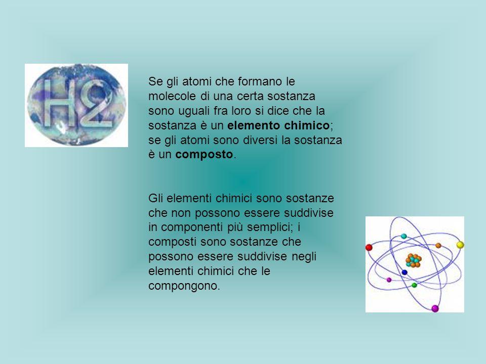 Se gli atomi che formano le molecole di una certa sostanza sono uguali fra loro si dice che la sostanza è un elemento chimico; se gli atomi sono diver