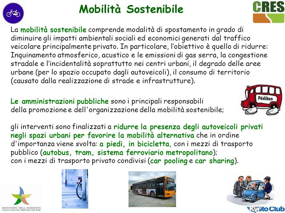 La mobilità sostenibile comprende modalità di spostamento in grado di diminuire gli impatti ambientali sociali ed economici generati dal traffico veicolare principalmente privato.