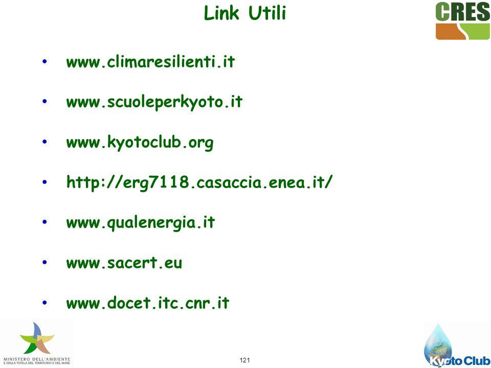 121 www.climaresilienti.it www.scuoleperkyoto.it www.kyotoclub.org http://erg7118.casaccia.enea.it/ www.qualenergia.it www.sacert.eu www.docet.itc.cnr.it Link Utili