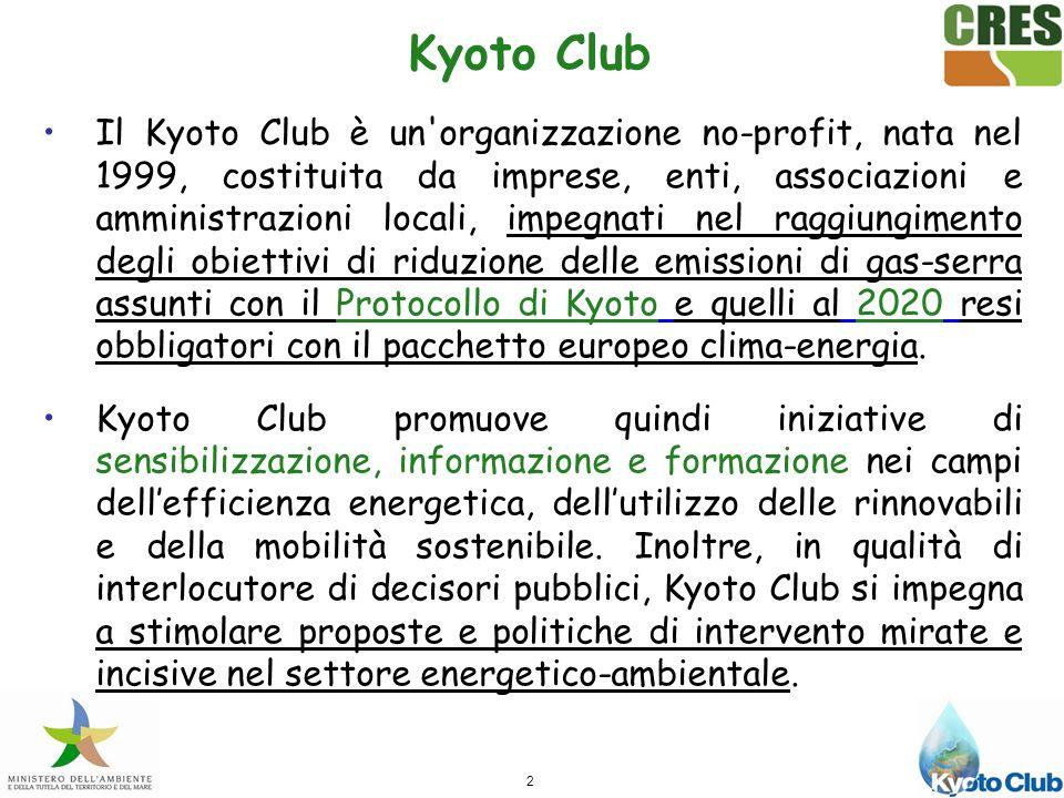 2 Kyoto Club Il Kyoto Club è un organizzazione no-profit, nata nel 1999, costituita da imprese, enti, associazioni e amministrazioni locali, impegnati nel raggiungimento degli obiettivi di riduzione delle emissioni di gas-serra assunti con il Protocollo di Kyoto e quelli al 2020 resi obbligatori con il pacchetto europeo clima-energia.
