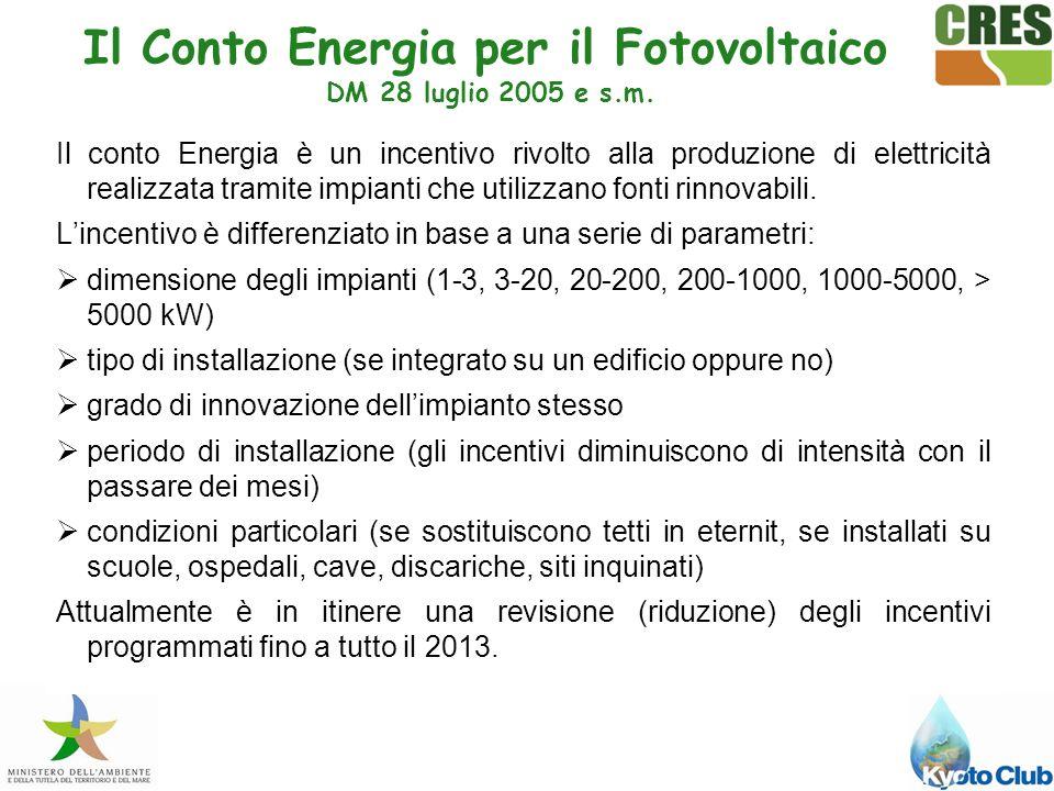 Il conto Energia è un incentivo rivolto alla produzione di elettricità realizzata tramite impianti che utilizzano fonti rinnovabili.