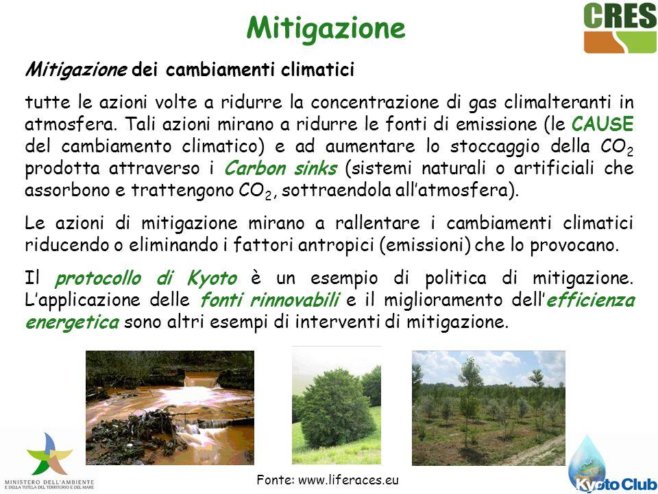 Mitigazione Mitigazione dei cambiamenti climatici tutte le azioni volte a ridurre la concentrazione di gas climalteranti in atmosfera.