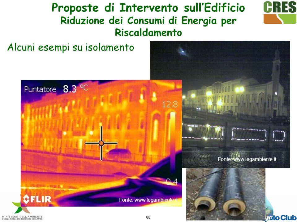 88 Fonte: www.legambiente.it Alcuni esempi su isolamento Proposte di Intervento sullEdificio Riduzione dei Consumi di Energia per Riscaldamento