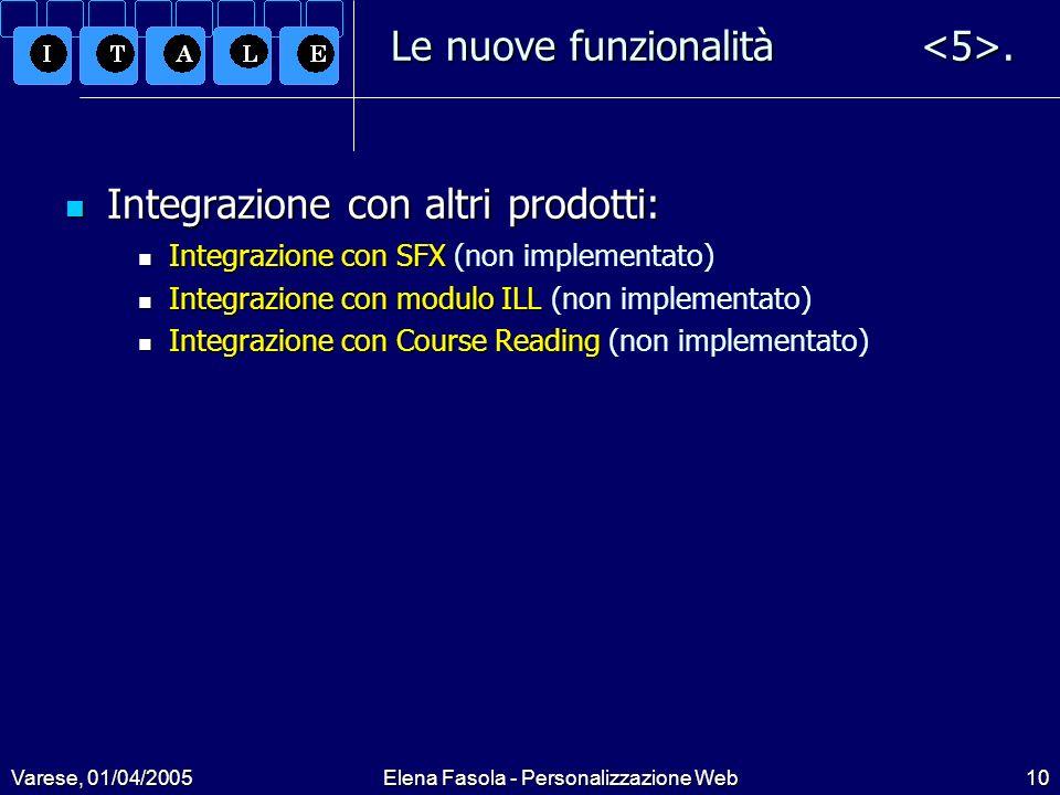 Varese, 01/04/2005Elena Fasola - Personalizzazione Web10 Le nuove funzionalità.