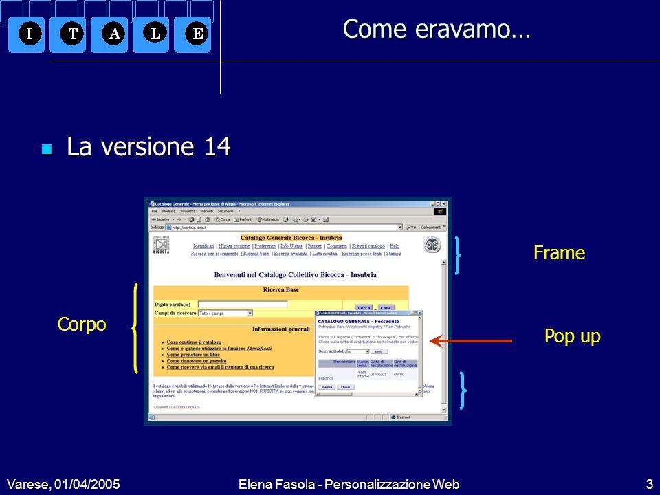 Varese, 01/04/2005Elena Fasola - Personalizzazione Web14 Le soluzioni adottate Le soluzioni adottate Inserimento FAQ: Inserimento FAQ: Non previste nella versione default Files creati ad hoc in www_f_ita/, prendendo a modello la struttura standard delle pagine: meta-tags, … meta-tags, … Percorsi hard coded per link e icone Percorsi hard coded per link e icone Pulsanti standard Pulsanti standard Inseriti link in home page con sintassi:&server_f?func=file&file_name=[nomefile]