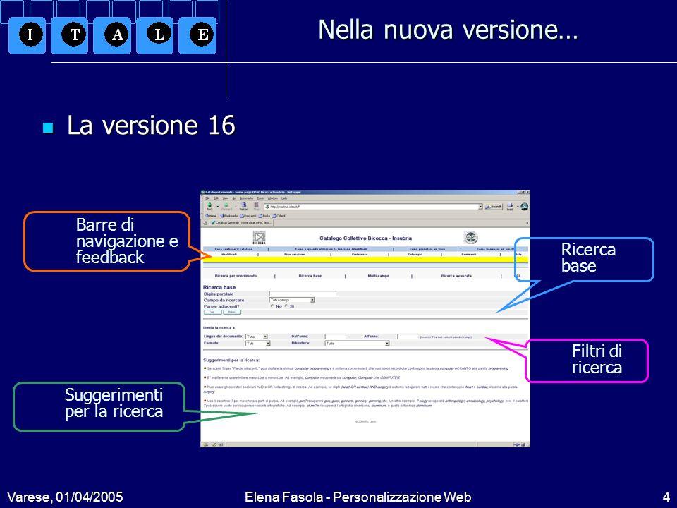 Varese, 01/04/2005Elena Fasola - Personalizzazione Web25 Le scelte di personalizzazione XHTML XHTML XHTML rappresenta una fusione di HTML4 e XML, cioè gli elementi HTML4 sono combinati con la sintassi XML.