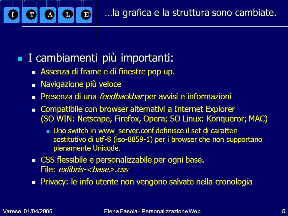 Varese, 01/04/2005Elena Fasola - Personalizzazione Web5 …la grafica e la struttura sono cambiate.