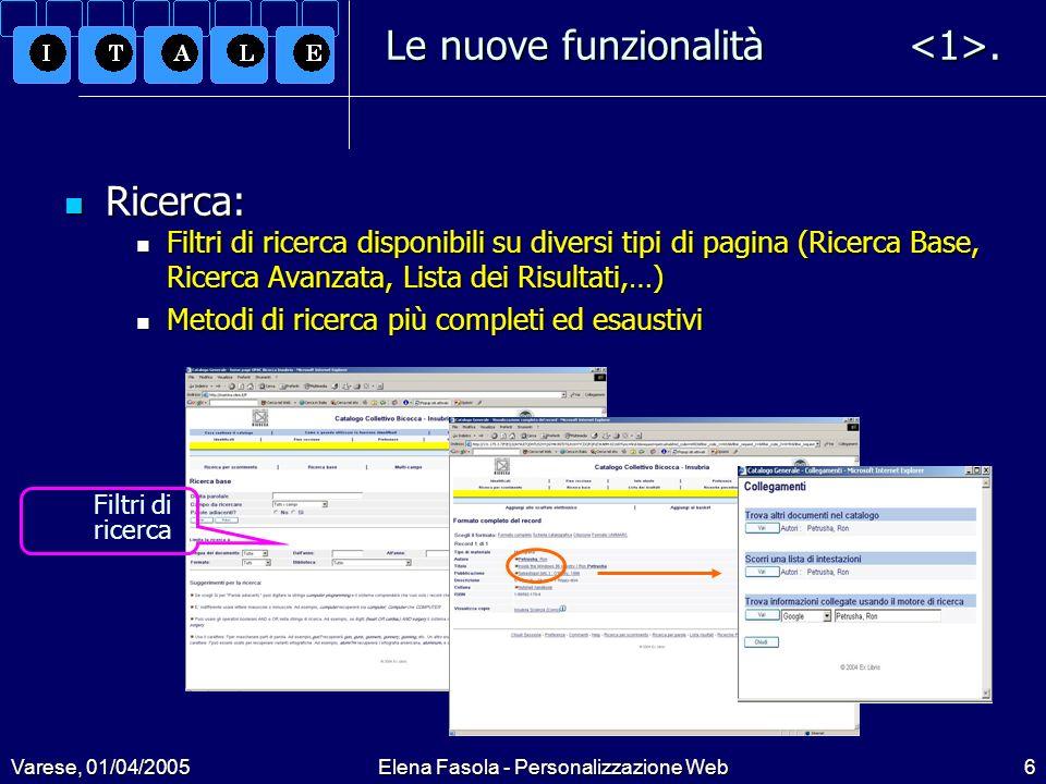 Varese, 01/04/2005Elena Fasola - Personalizzazione Web7 Le nuove funzionalità.