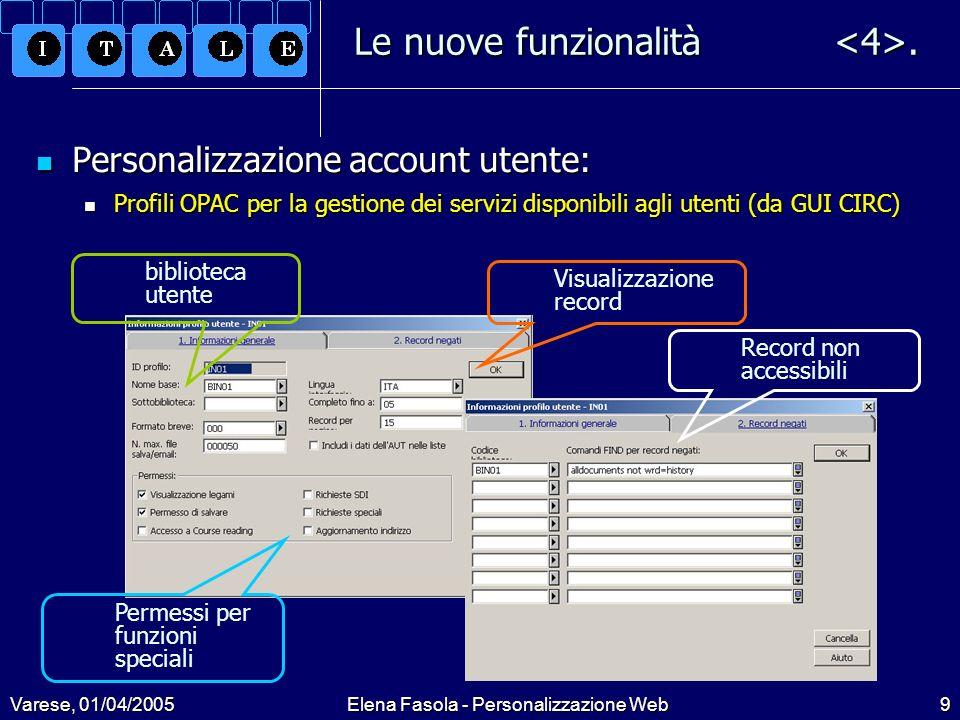 Varese, 01/04/2005Elena Fasola - Personalizzazione Web9 Le nuove funzionalità.