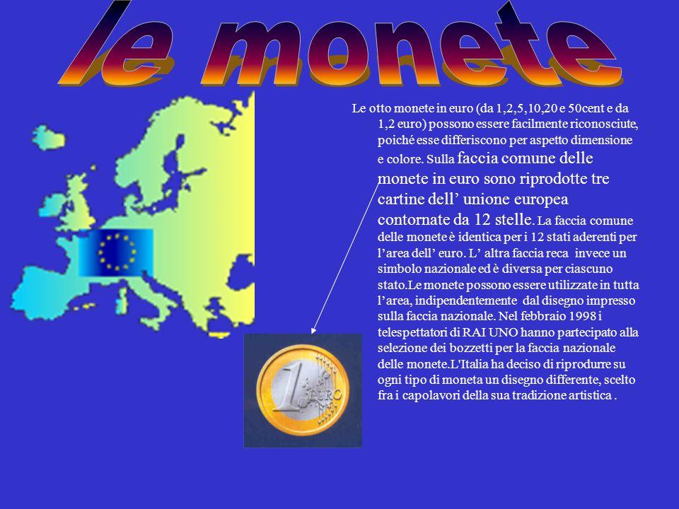 Le otto monete in euro (da 1,2,5,10,20 e 50cent e da 1,2 euro) possono essere facilmente riconosciute, poiché esse differiscono per aspetto dimensione