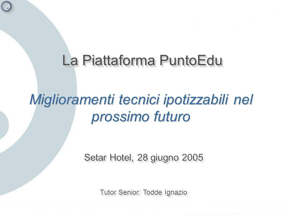 La Piattaforma PuntoEdu Setar Hotel, 28 giugno 2005 Tutor Senior: Todde Ignazio Miglioramenti tecnici ipotizzabili nel prossimo futuro