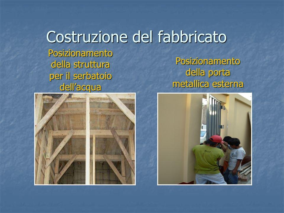 Posizionamento della struttura per il serbatoio dellacqua Costruzione del fabbricato Posizionamento della porta metallica esterna