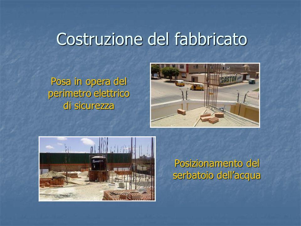 Posizionamento del serbatoio dellacqua Costruzione del fabbricato Posa in opera del perimetro elettrico di sicurezza