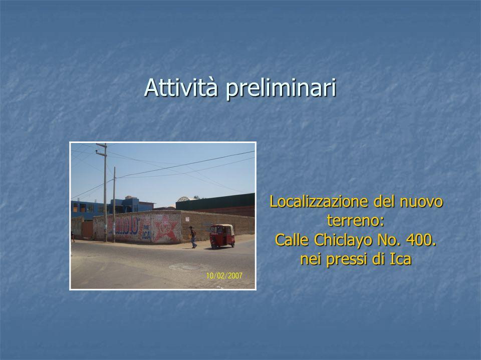 Attività preliminari Localizzazione del nuovo terreno: Calle Chiclayo No. 400. nei pressi di Ica