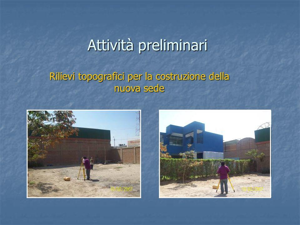 Rilievi topografici per la costruzione della nuova sede Attività preliminari