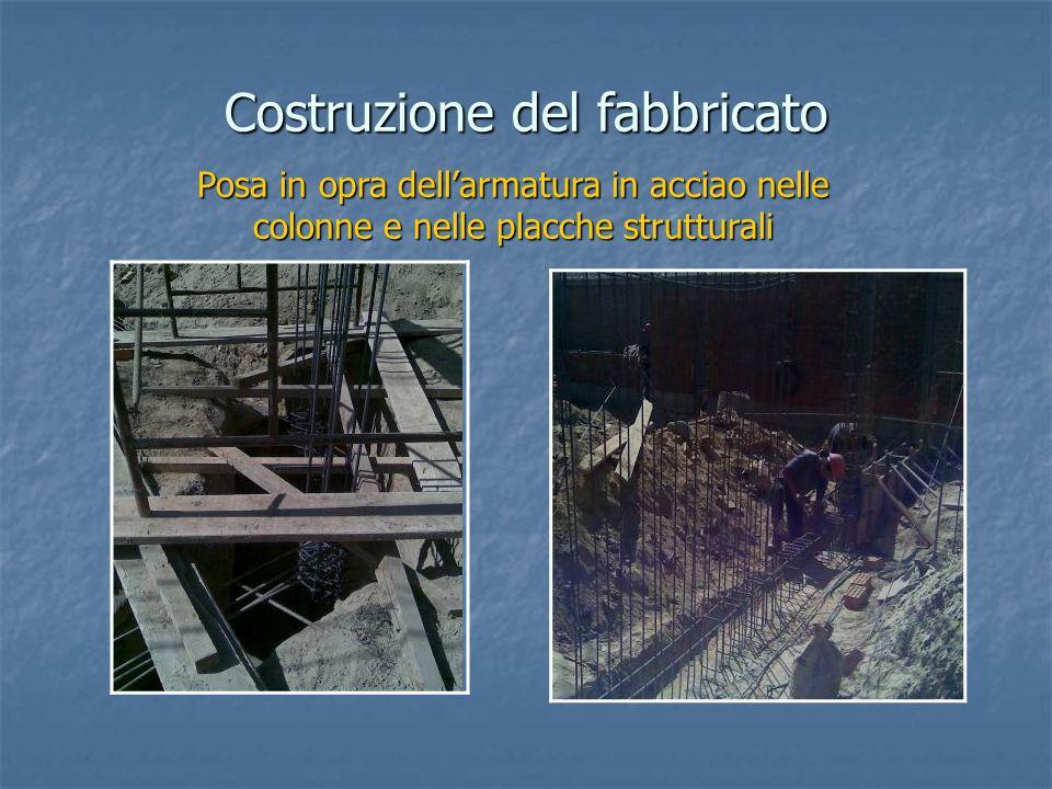 Costruzione del fabbricato Posa in opra dellarmatura in acciao nelle colonne e nelle placche strutturali