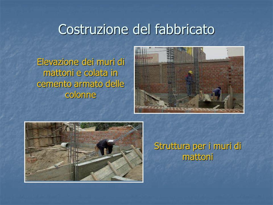 Elevazione dei muri di mattoni e colata in cemento armato delle colonne Costruzione del fabbricato Struttura per i muri di mattoni