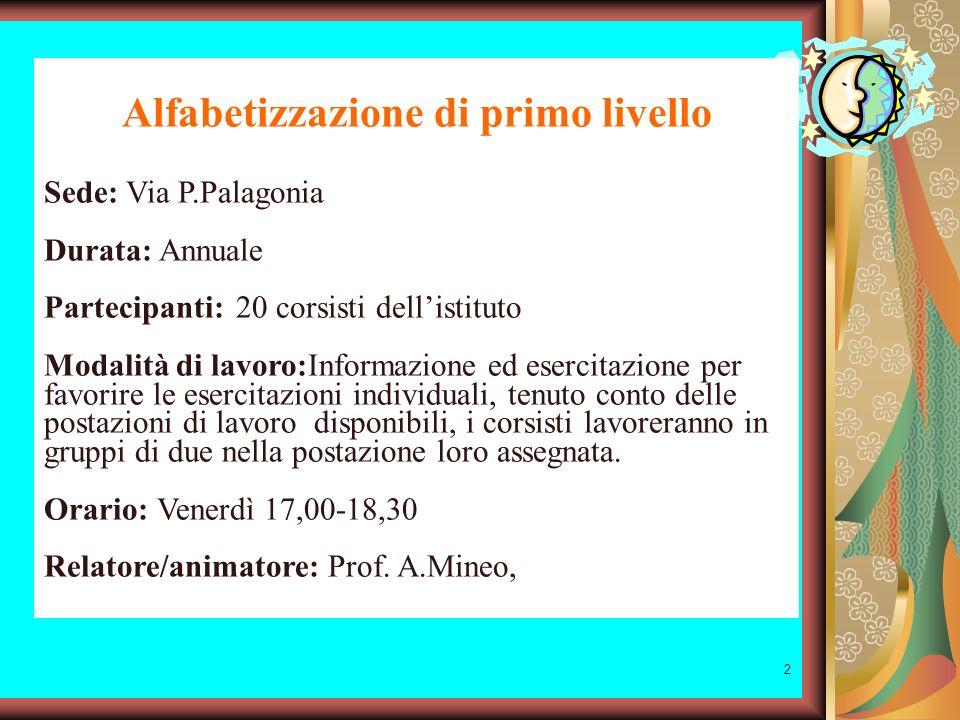 1 CORSO DI INFORMATICA 1° LIVELLO Formazione e aggiornamento Anno scolastico 2005-06