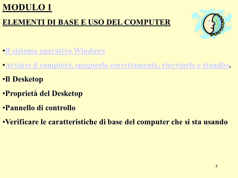 15 MODULO 3: GESTIONE DEI FILE DI WINDOWS Formattare un disco Finestre di lavoro Organizzare i file Semplice editing: Wordpad Gestione della stampa