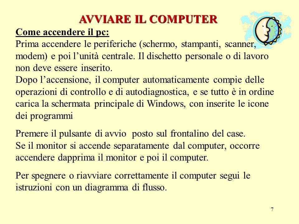 17 FINESTRE DI LAVORO FINESTRE DI LAVORO Utilizzando i programmi applicativi che girano in ambiente windows come per esempio il Word, vedremo il lavoro entro riquadri chiamati finestre..