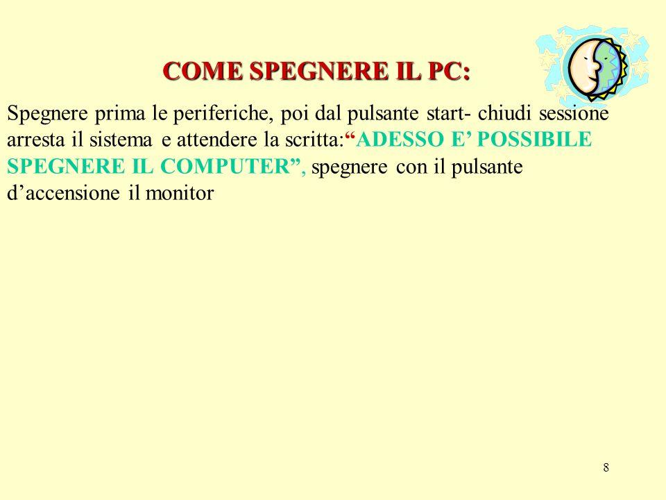 7 AVVIARE IL COMPUTER AVVIARE IL COMPUTER Come accendere il pc: Prima accendere le periferiche (schermo, stampanti, scanner, modem) e poi lunità centrale.