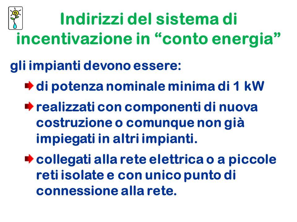 gli impianti devono essere: di potenza nominale minima di 1 kW realizzati con componenti di nuova costruzione o comunque non già impiegati in altri impianti.