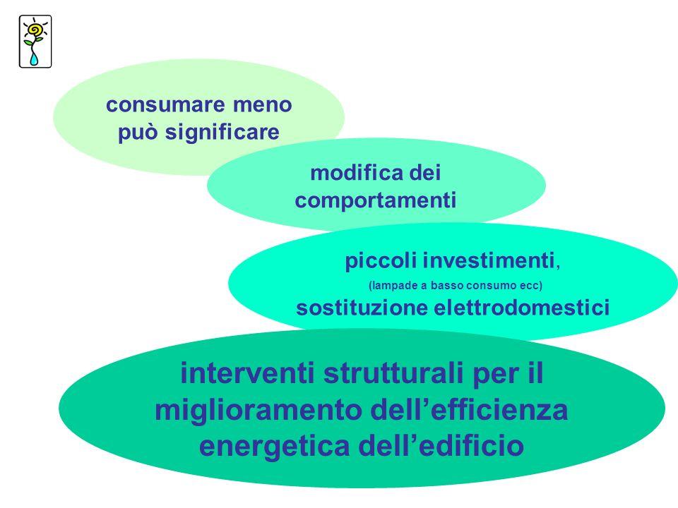 consumare meno può significare modifica dei comportamenti piccoli investimenti, (lampade a basso consumo ecc) sostituzione elettrodomestici interventi strutturali per il miglioramento dellefficienza energetica delledificio