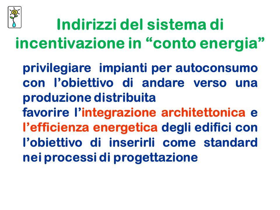 privilegiare impianti per autoconsumo con lobiettivo di andare verso una produzione distribuita favorire lintegrazione architettonica e lefficienza energetica degli edifici con lobiettivo di inserirli come standard nei processi di progettazione Indirizzi del sistema di incentivazione in conto energia