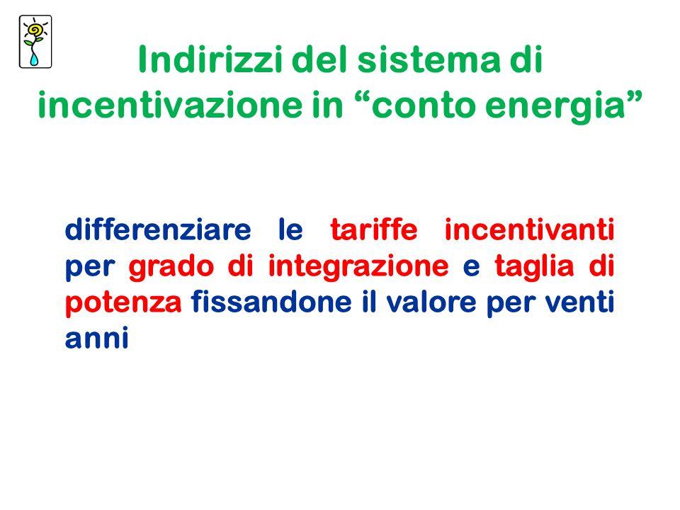 differenziare le tariffe incentivanti per grado di integrazione e taglia di potenza fissandone il valore per venti anni