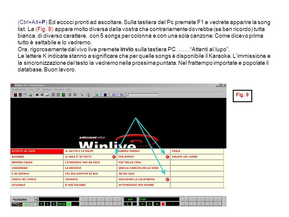 (Ctrl+Alt+P) Ed eccoci pronti ad ascoltare. Sulla tastiera del Pc premete F1 e vedrete apparire la song list. La (Fig. 9) appare molto diversa dalla v