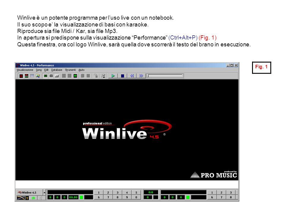 Winlive è un potente programma per luso live con un notebook. Il suo scopo e la visualizzazione di basi con karaoke. Riproduce sia file Midi / Kar, si