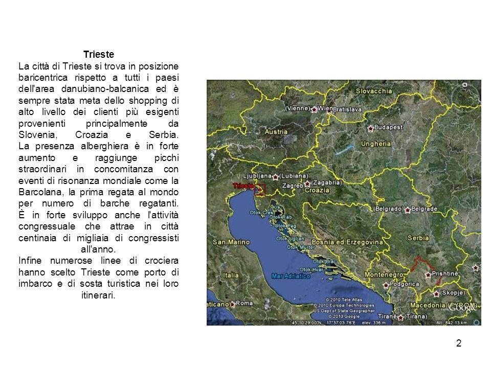 2 Trieste La città di Trieste si trova in posizione baricentrica rispetto a tutti i paesi dell'area danubiano-balcanica ed è sempre stata meta dello s